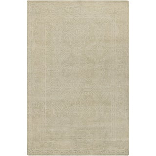 Hand-Knotted Millie Border Pattern Wool Rug (3'6 x 5'6)