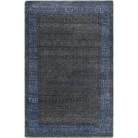 Hand-Knotted Marsha Border Pattern Wool Area Rug
