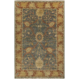 """Hand-Knotted Miriam Floral New Zealand Wool Area Rug - 5'6"""" x 8'6"""""""