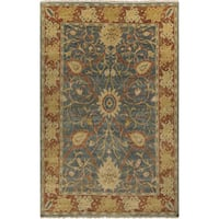 "Hand-Knotted Miriam Floral New Zealand Wool Area Rug - 5'6"" x 8'6"""