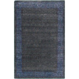 Hand-Knotted Marsha Border Pattern Wool Rug (2' x 3')
