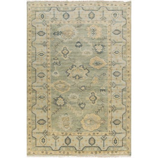 Hand-Knotted Rafael Border New Zealand Wool Area Rug