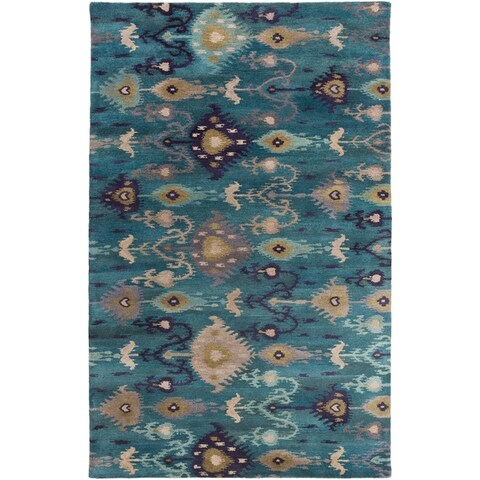 Hand-Tufted Adalyn Ikat New Zealand Wool Area Rug