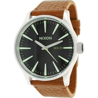 Nixon Men's Sentry A1051037 Brown Leather Leather Quartz Watch