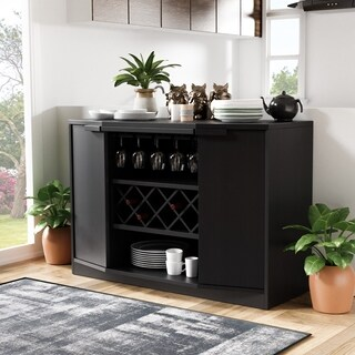 Furniture of America Chapline Wine Bar Buffet (Option: Black)