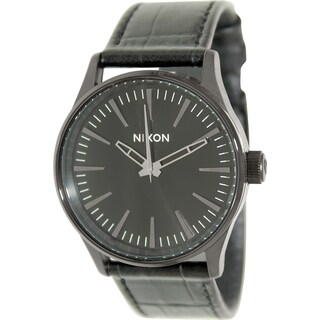 Nixon Men's Sentry A3771886 Black Leather Quartz Watch