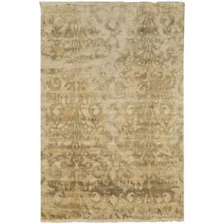 Hand-Knotted Jake Damask Pattern Wool Rug (5' x 8')