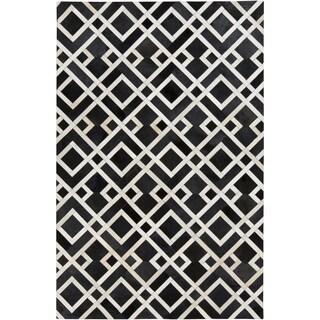 Handmade Greg Animal Pattern Leather Rug (5' x 8')