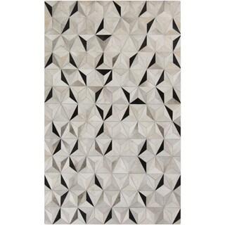 Handmade Evan Animal Pattern Leather Rug (5' x 8')
