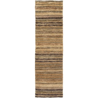 Hand-Woven Jeff Stripe Hemp Textured Rug (2'6 x 8')