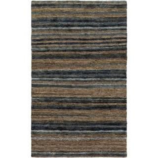 Hand-Woven Jeff Stripe Hemp Textured Rug (2' x 3')