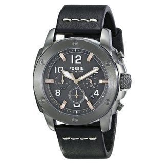 Fossil Men's Modern Machine FS5016 Black Leather Quartz Watch