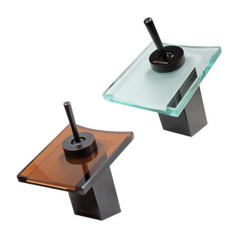 7.5-inch Glass and Oil Rubbed Bronze Waterfall Bathroom Faucet