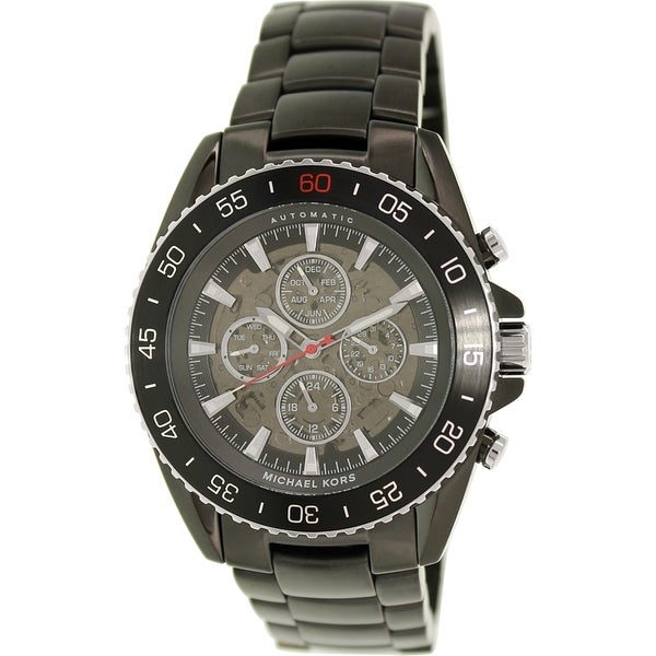 24833e17d8e5 Shop Michael Kors Men s Black Stainless Steel Automatic Watch - Free  Shipping Today - Overstock - 9830571
