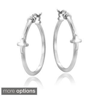 Mondevio Sterling Silver Cross Polished Hoop Earrings