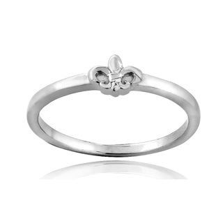 Mondevio Sterling Silver Fleur de Lis Polished Ring