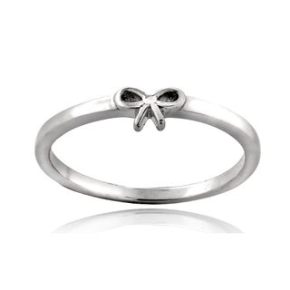 Mondevio Sterling Silver Bow Polished Promise Ring (More options available)