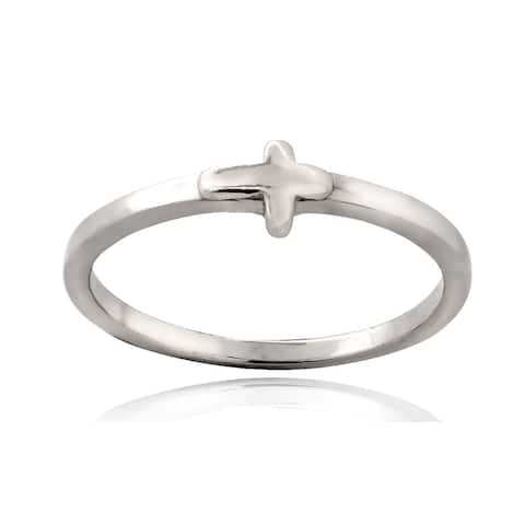 Mondevio Sterling Silver Cross Polished Ring