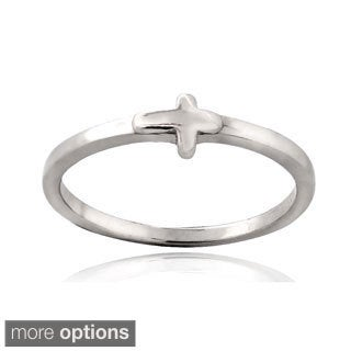 Mondevio Sterling Silver Cross Polished Promise Ring