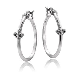Mondevio Sterling Silver Fleur de Lis Polished Hoop Earrings