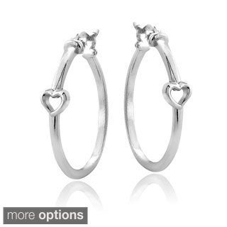 Mondevio Sterling Silver Heart Polished Hoop Earrings