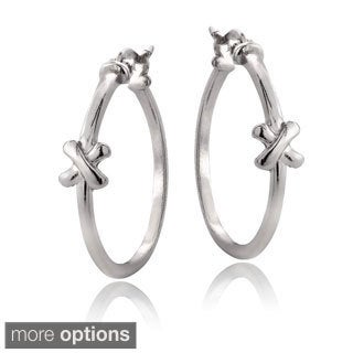 Mondevio Sterling Silver X Polished Hoop Earrings