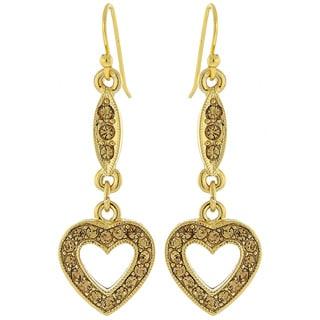 1928 Be Mine Topaz Color Crystal Heart Dangle Earrings