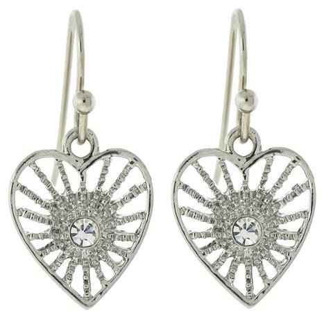 1928 Jewelry Silver-Tone Crystal Petite Filigree Heart Earrings