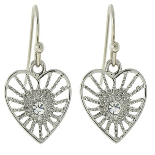 1928 Silver-Tone Crystal Petite Filigree Heart Earrings