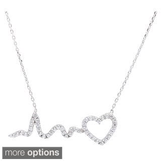 La Preciosa Sterling Silver Cubic Zirconia Heart and HeartBeat Necklace