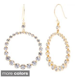 La Preciosa Sterling Silver Graduating CZ Dangling Circle Earrings