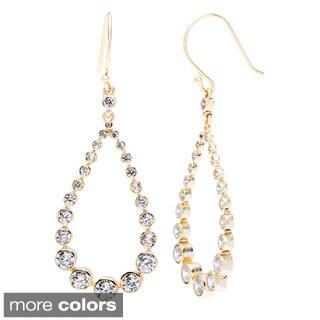 La Preciosa Sterling Silver Graduating CZ Dangling Teardrop Earrings