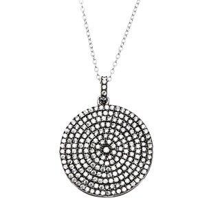 La Preciosa Sterling Silver Black-plated and Micropave CZ Circle Necklace