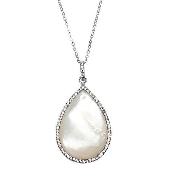 La Preciosa Sterling Silver Micropave CZ and Mother of Pearl Teardrop Necklace