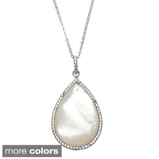 La Preciosa Sterling Silver Micropave CZ and Mother of Pearl Teardrop Necklace