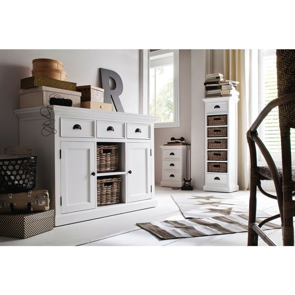 Incroyable NovaSolo White Mahogany Buffet With Two Rattan Baskets