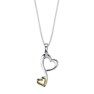 Love Grows Two-tone Double Heart Pendant