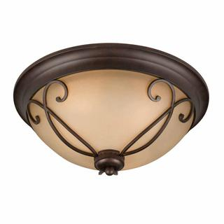 Budapest Collection Lumenno International Traditional 3-light Bronze Flush Mount with Tea Stained Glass