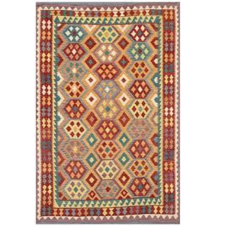 Herat Oriental Afghan Hand-woven Tribal Kilim Beige/ Purple Wool Rug (6'4 x 9'6)