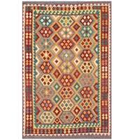 Handmade Herat Oriental Afghan Tribal Wool Kilim  - 6'4 x 9'6 (Afghanistan)