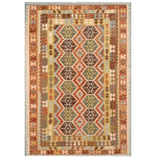 Herat Oriental Afghan Hand-woven Tribal Kilim Beige/ Light Blue Wool Rug (6'9 x 9'6)