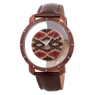 Akribos XXIV Men's Swiss Quartz Retro Style Transparent Dial Leather Brown Strap Watch