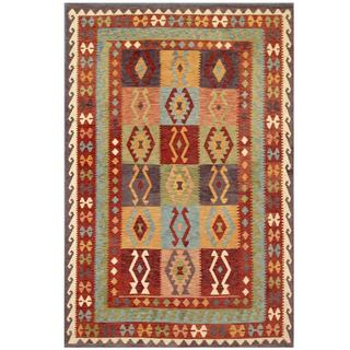 Handmade One-of-a-Kind Wool Kilim (Afghanistan) - 6'5 x 9'6