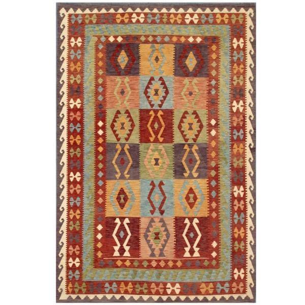 Handmade Herat Oriental Afghan Tribal Wool Kilim - 6'5 x 9'6 (Afghanistan)
