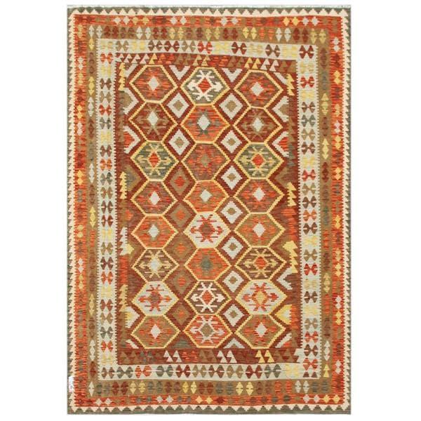 Handmade Herat Oriental Afghan Tribal Wool Kilim - 6'4 x 9'4 (Afghanistan)
