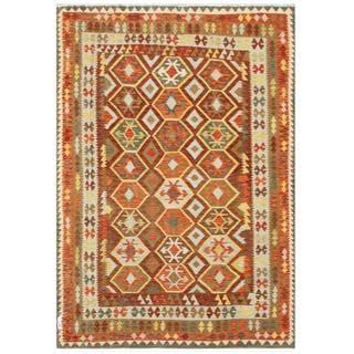 Herat Oriental Afghan Hand-woven Tribal Kilim Rust/ Gray Wool Rug (6'4 x 9'4)