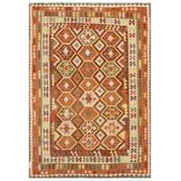 Herat Oriental Afghan Hand-woven Tribal Wool Kilim (6'4 x 9'4)