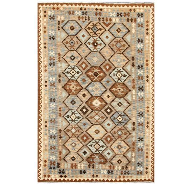Herat Oriental Afghan Hand-woven Tribal Wool Kilim (6'3 x 9'5)