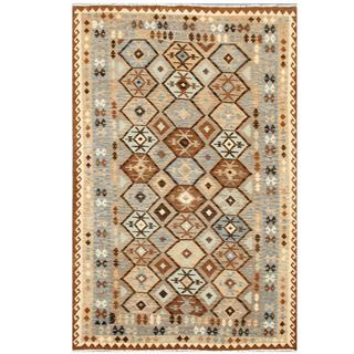 Herat Oriental Afghan Hand-woven Tribal Kilim Beige/ Brown Wool Rug (6'3 x 9'5)