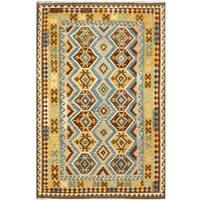 Herat Oriental Afghan Hand-woven Tribal Wool Kilim - 6'5 x 9'9